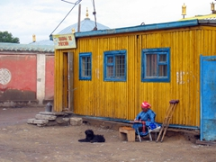 A colorful scene near the Gandan Monastery complex; Ulan Bator