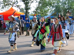 We enjoyed the parade of different costumed performers on their way to the opening ceremonies of the Naadam Festival