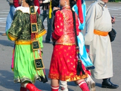 Colorful view of several of the performers; Naadam Festival opening ceremonies