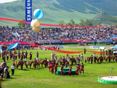 "Opening ceremonies of the Naadam Festival, which consists of 3 ""manly"" events of wrestling, archery and horse racing, which are the sports of wisdom, courage and strength; Ulan Bator"