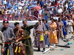 The best archers from all over Mongolia are invited to compete in the archery contest of the Naadam Festival
