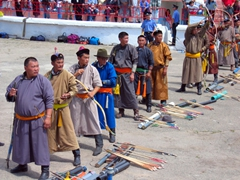 "The winner of the Naadam Festival archery contest is given the title of ""Erkhiin Mergen Kharvaach"" which means ""Archer of Greatest Wisdom"", as well as bragging rights for the entire year"