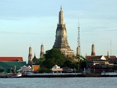 Wat Arun (Temple of Dawn) as seen from the Chao Phraya River in Bangkok