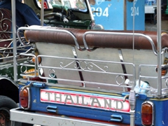 Tuk-tuks are a cheap (and smoke fumed) way to travel about Bangkok