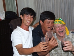 Anh Long and Hai party it up with Bob during our first night in Bangkok party