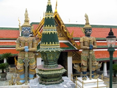 Two towering Yakshas (Giant Demons) standing guard at the Grand Palace