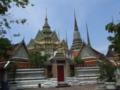 Exterior view of Wat Pho, a Buddhist temple near the Thai Massage Medical School in Bangkok