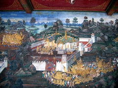 The compound walls of Wat Phra Kaew are decorated in 108 scenes based on the Indian epic Ramayana