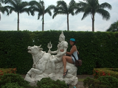 Becky hops along for a ride; Nong Nooch Garden