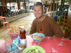 Robby enjoys a tasty noodle soup for breakfast; Pattaya