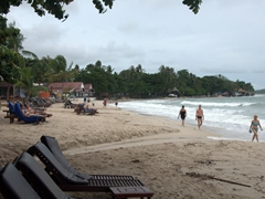 Its an overcast day but tourists are still milling about Chaweng Beach, a popular east coast Ko Samui getaway