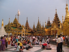Devotees praying at the Shwezigon Pagoda, Yangon