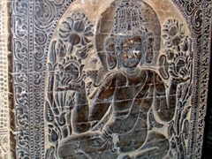 Intricate carving on interior column; Nanpaya temple
