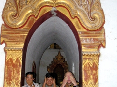 "Three wise monkeys, ""Speak no evil; hear no evil; see no evil"" Ananda Pagoda"