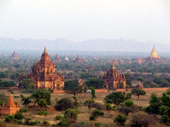 Pagodas rise from the mist in picturesque Bagan