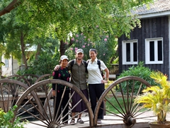 Ann, Robby and Becky at the Kaytumadi Dynasty Hotel; Bagan