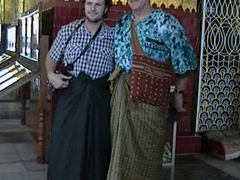 Robby and Bob dressed in their longyis; Mahamuni Temple; Mandalay