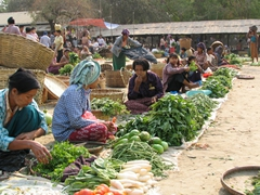 Bagan's local market has a vast selection of fresh produce for sale
