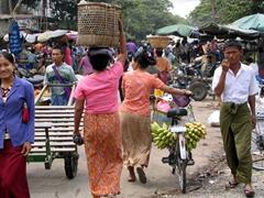 Busy street market; Mandalay