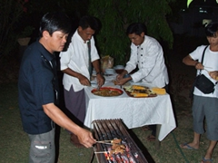 Anh Hai is finally able to grill his much desired goat meat; Kaytumadi hotel, Bagan