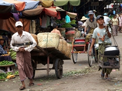 Mandalay morning market scene