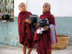 Young monks awaiting their midday meal; Maha Ganayon Kyaung monastery