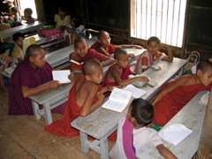 Monks taking their studies seriously; Bagaya Monastery in Inwa