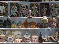 Lots of wood carvings for sale; U Bein