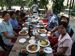 The group feasts for lunch; Mandalay