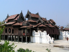 Old wooden monastery on the outskirts of Inle Lake