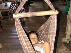 Sleeping baby; Inle Lake