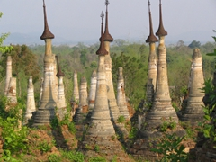 The amazing Shwe Inn Thein stupas, Inle Lake