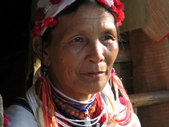 Portrait of a Lahda lady in traditional tribal dress; Indein village, Inle Lake