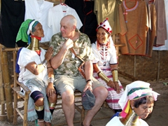 Bob with Padaung and Lahda ladies; Indein village, Inle Lake