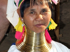 Padaung tribal lady; Indein village, Inle Lake (notice her blue eyes?)