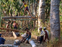 Cutting timber for a new home; near Inle Lake
