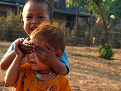 Peek-a-boo! Indein village children; Inle Lake
