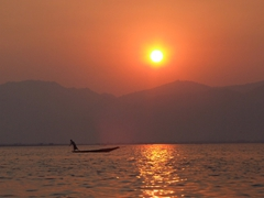 Beautiful sunset over Inle Lake