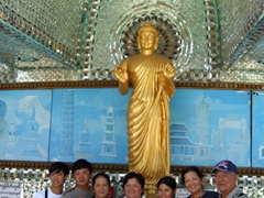 All the Vietnamese relatives pose with the Buddha statue donated by Vietnam; Kaba Aye Paya (World Peace Stupa)