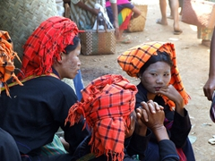 Women of the Pa-O tribe take a break in the shade; Heho market