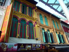Bright colorful shophouses line the streets in Chinatown, one of our favorite sections of Singapore