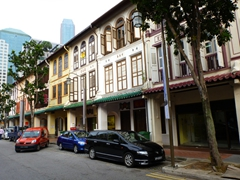 "View of Singapore shophouses, which are built in ""Chinese Baroque"" or ""Singapore Eclectic"" architecture, sporting a rich mix of Malay, Chinese and European architectural details"