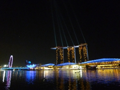 View of the free light and water show at the Marina Bay Sands