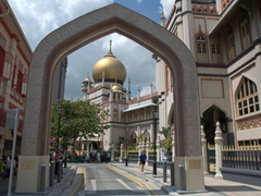 An archway view of the golden dome of Sultan Mosque, built by the East India Company in 1826; Kampong Glam