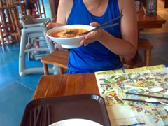Becky shows off her favorite Malaysian dish, laksa, a coconut based spicy noodle soup; Jurong Bird Park