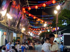 Street decorated for Mid-autumn festival; Chinatown