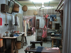 Display of a typical seamstress shop, Chinatown Heritage Center