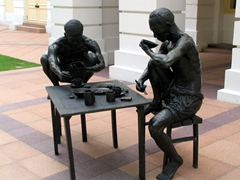 This sculpture by Chong Fah Cheong depicts two coolies having a simple meal after another day of hard work. Coolies were bonded manual laborers assigned to work the waterfront under harsh conditions during the colonial days. They worked long hours for tiny salaries, which were saved up to send back to their families in China