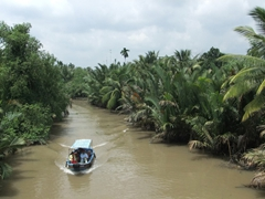 A peaceful Mekong river scene