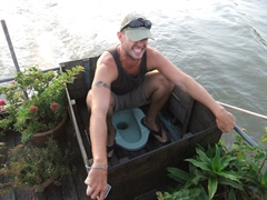 Robby demonstrates the use of an outdoor, river view toilet on board our barge; Can Tho
